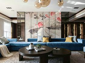新中式装修效果图三室两厅装修 莲花飘香