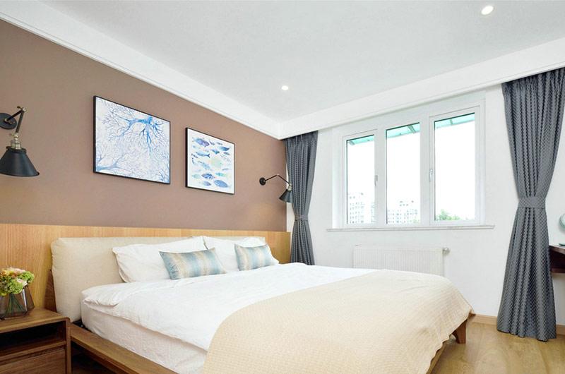 北欧风情卧室灰色窗帘效果图
