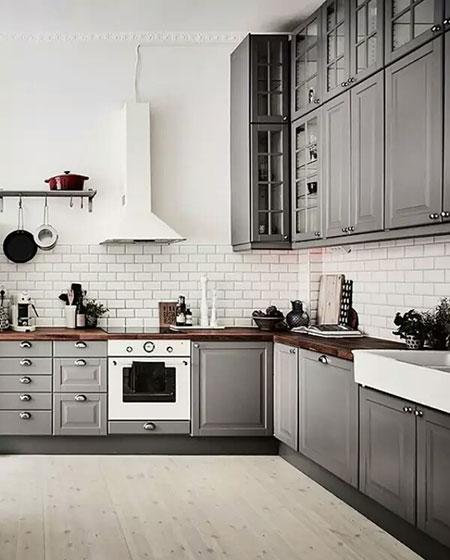厨房灰色整体橱柜效果图