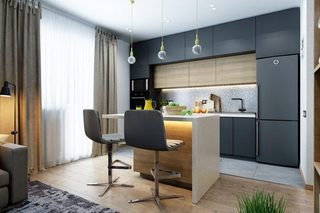 灰色系厨房构造图片