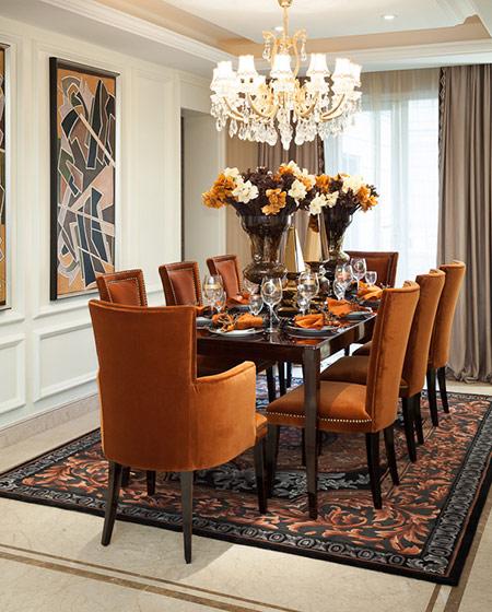 美式风格装修餐厅地毯效果图