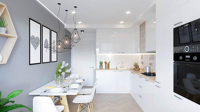 北欧三居室装修餐厅厨房一体装修