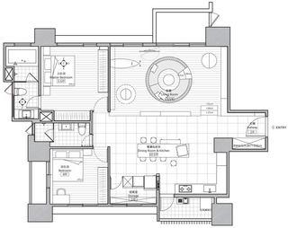 混搭风格两居室装修平面户型图