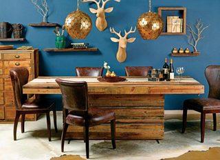 蓝色北欧风格餐厅图片