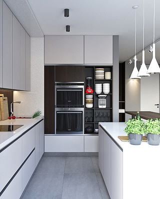 简约风格样板房厨房装修实景图