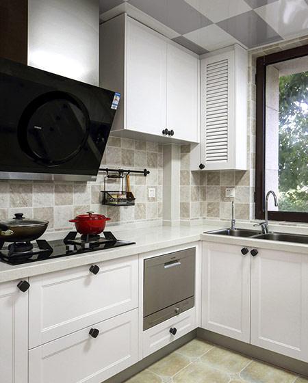 145平美式四居室白色橱柜图片