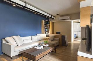 70平小户型装修蓝色沙发背景墙