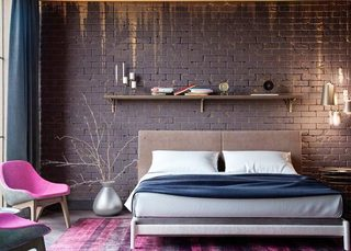 冷色卧室裸砖背景墙装修图