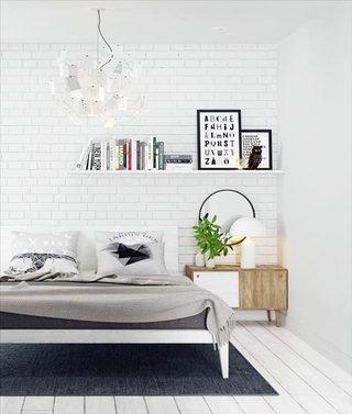 北欧风卧室裸砖背景墙平面图
