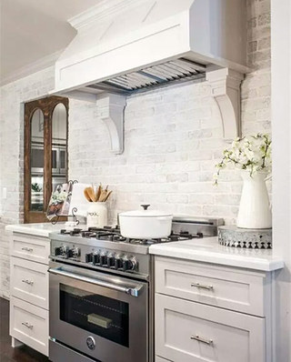美式风格厨房背景墙装修图