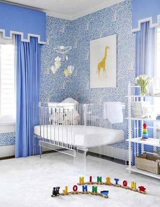 蓝色儿童房设计实景图