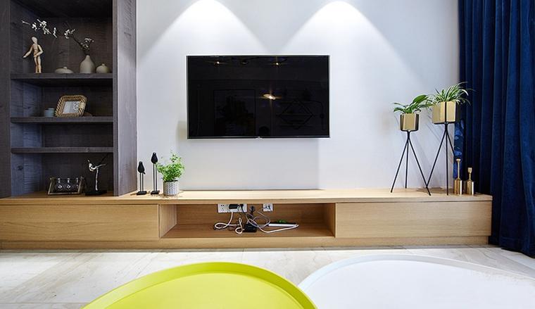 90平混搭风格两居室装修电视背景墙设计图