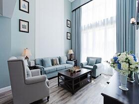 蓝色调欧式风格装修 大气的空间感