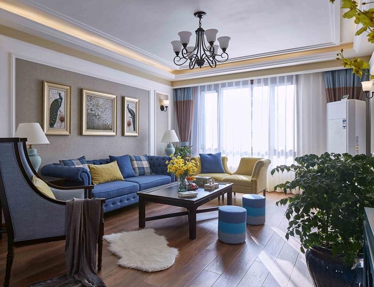 法式风格装修效果图客厅窗帘图片