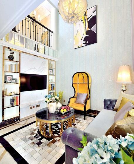 60平米时尚loft装修小客厅效果图