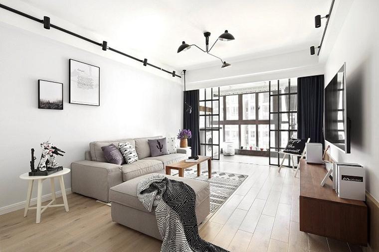 黑白调北欧风格装修客厅效果图