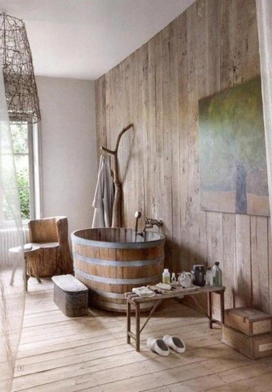 木桶浴缸图片