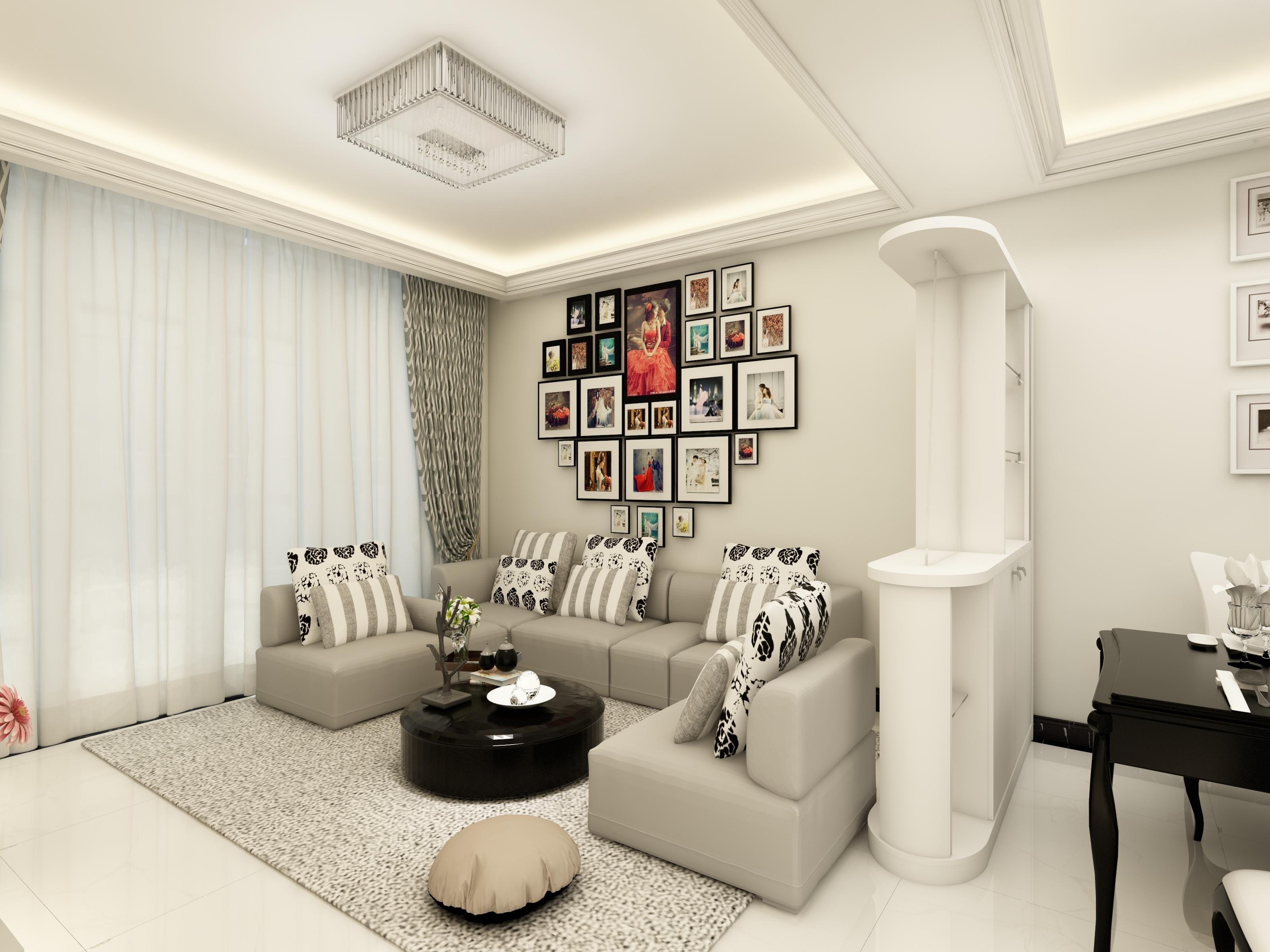 现代简约二居客厅沙发墙装修效果图