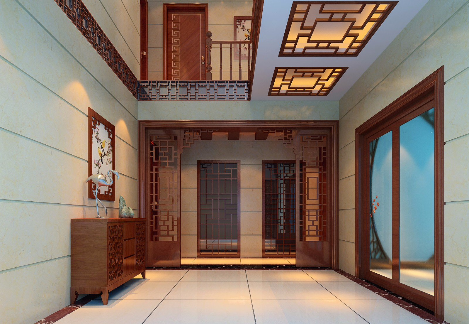 中式别墅门厅装修效果图