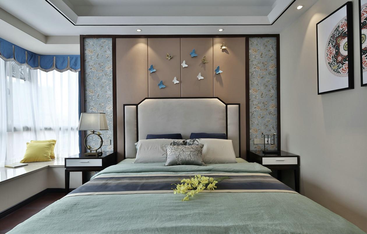 新中式风格床头背景墙装修效果图