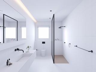 135平极简风格卫生间装修效果图