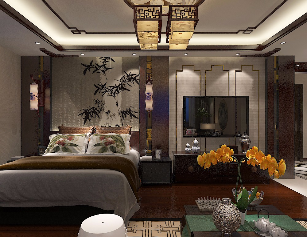 中式风格电视背景墙装修设计效果图