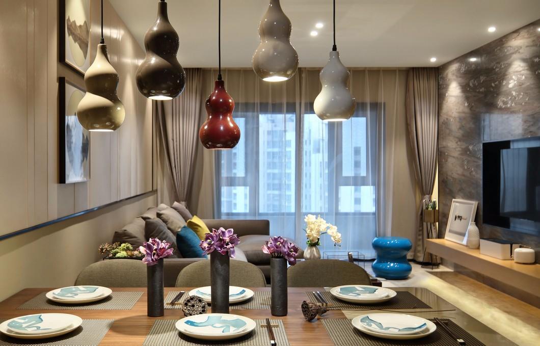 100平现代风格装修餐厅吊灯设计图