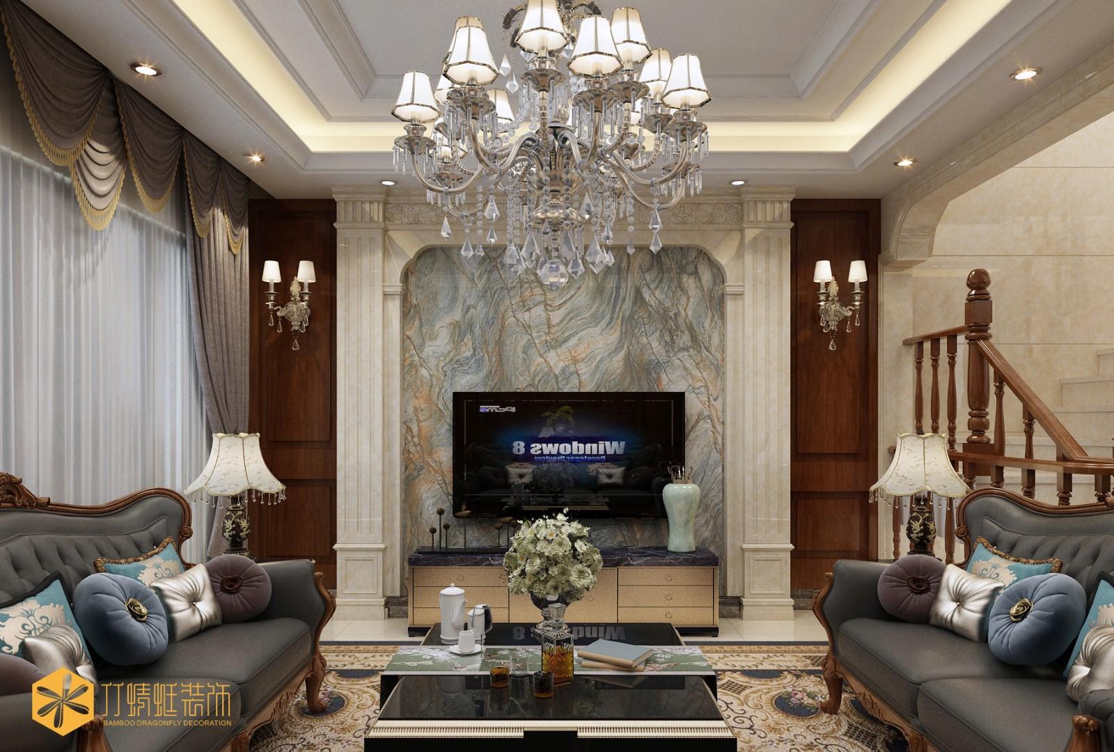 欧式风格别墅电视背景墙装修效果图