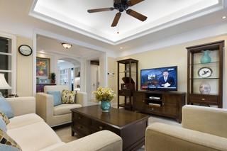 休闲美式风格三居客厅装修效果图