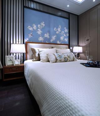 新中式样板房卧室装修效果图