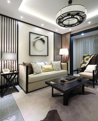 新中式样板房沙发背景墙装修效果图