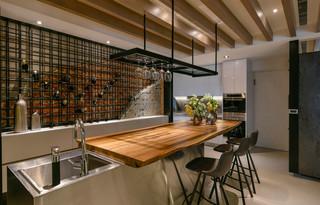 餐厅现代混搭风三居吧台装修效果图