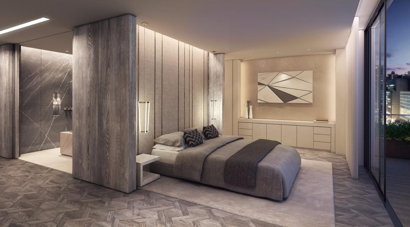 灰调现代公寓卧室装修效果图