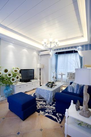 三居室地中海风格电视背景墙装修效果图