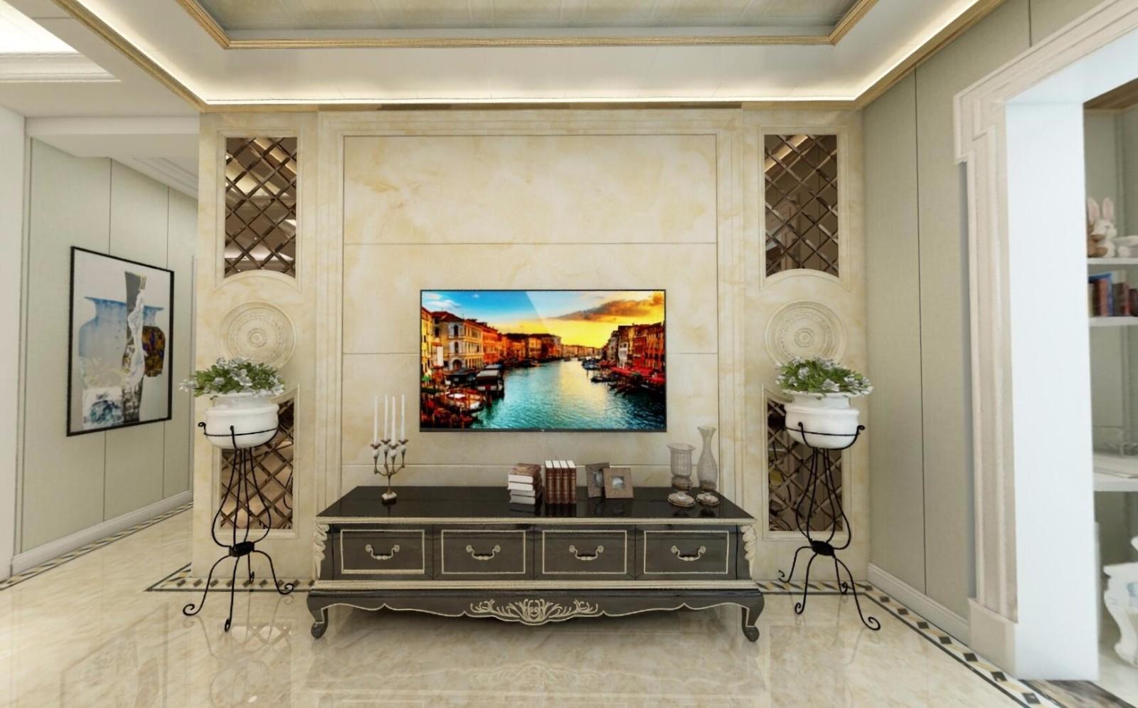 136㎡欧式风格三居电视背景墙装修效果图