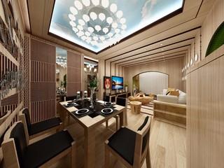 82平混搭风格餐厅装修效果图