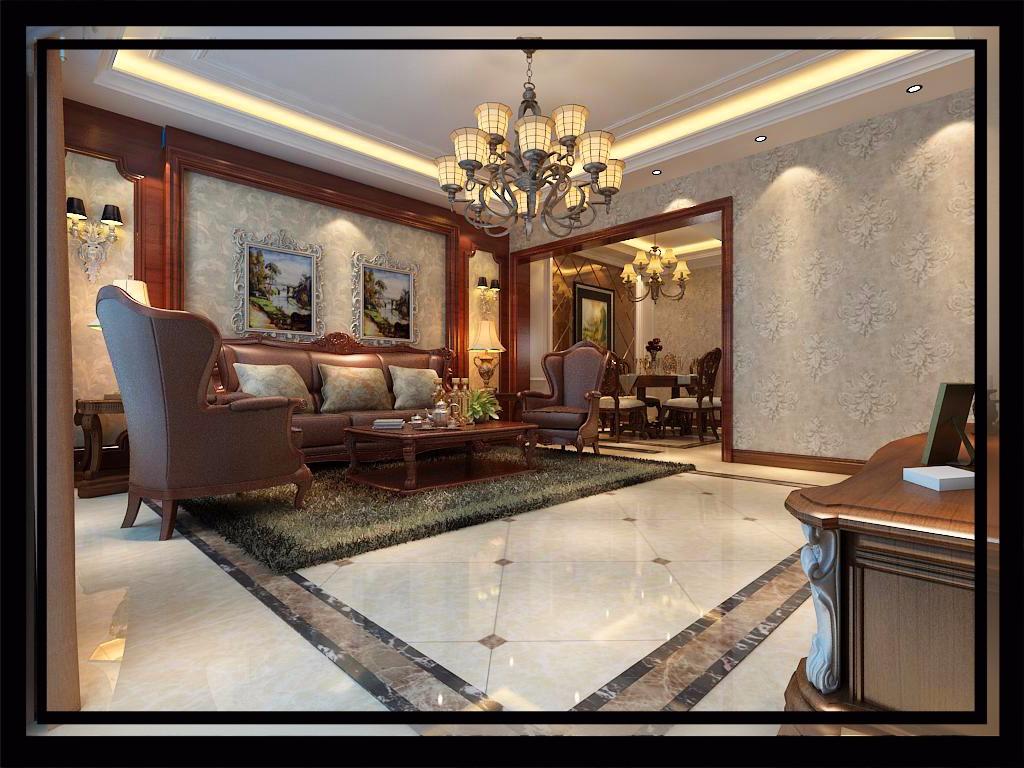 大户型豪华美式风格客厅装修效果图