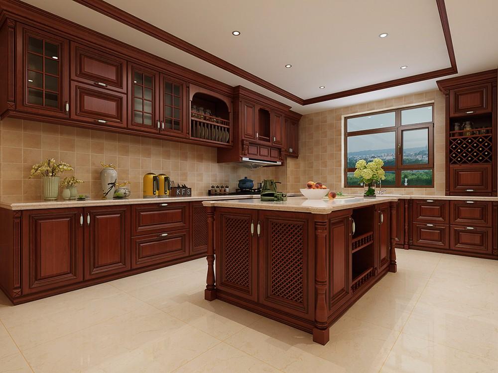 大户型豪华美式风格厨房装修效果图