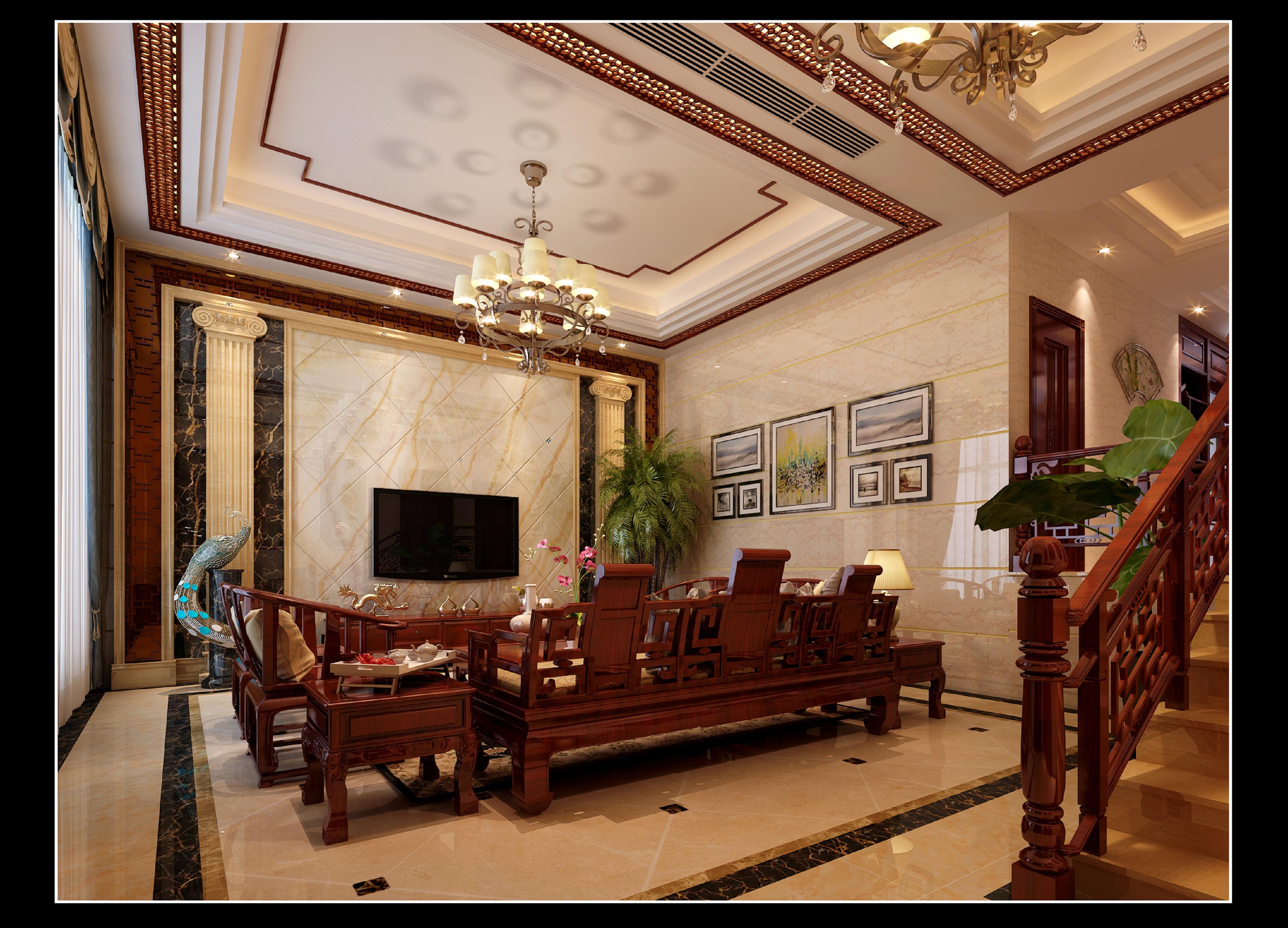 复式中式风格客厅装修效果图