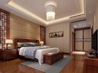 复式中式风格卧室装修效果图
