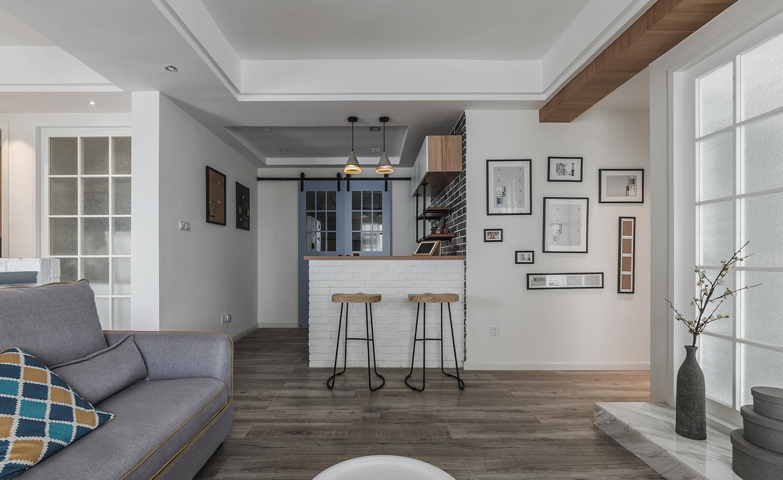现代北欧风格三居吧台装修效果图