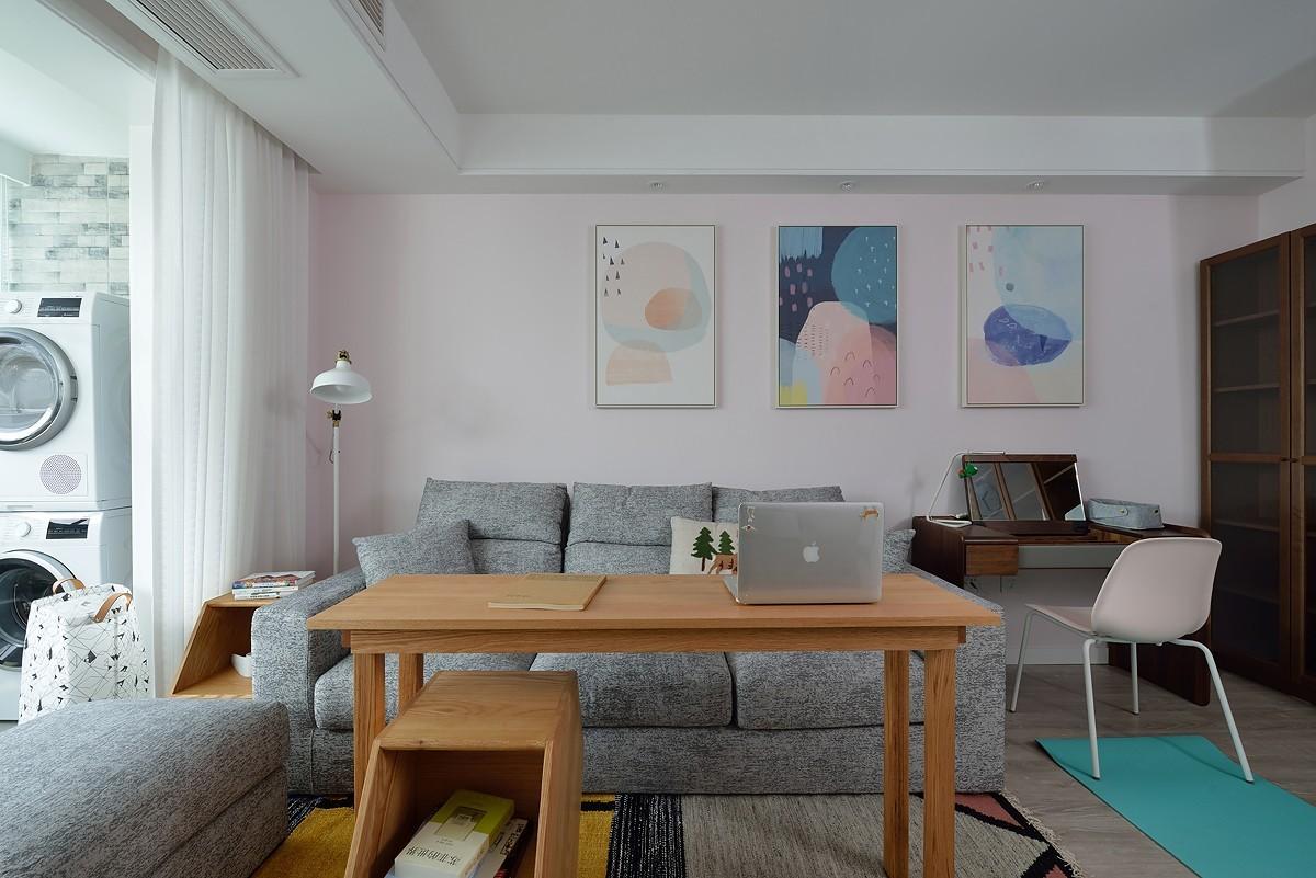 96平米北欧风格沙发背景墙装修效果图