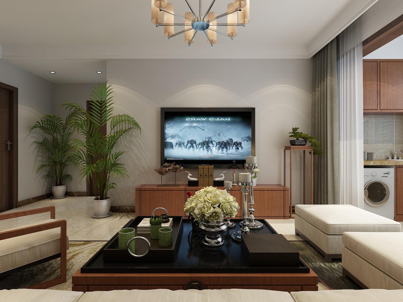 90平新中式风格电视背景墙装修效果图