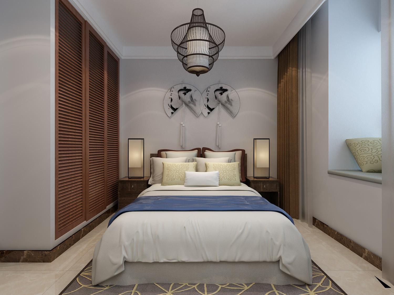 90平新中式风格卧室装修效果图