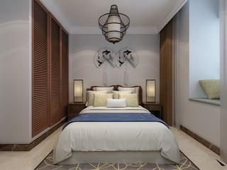 90平新中式风格卧室每日首存送20