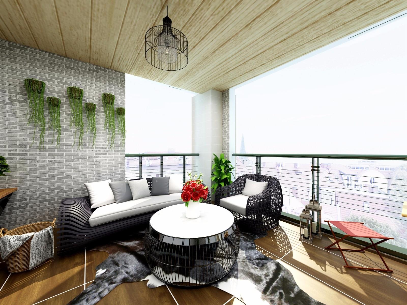 现代风格三居阳台装修效果图