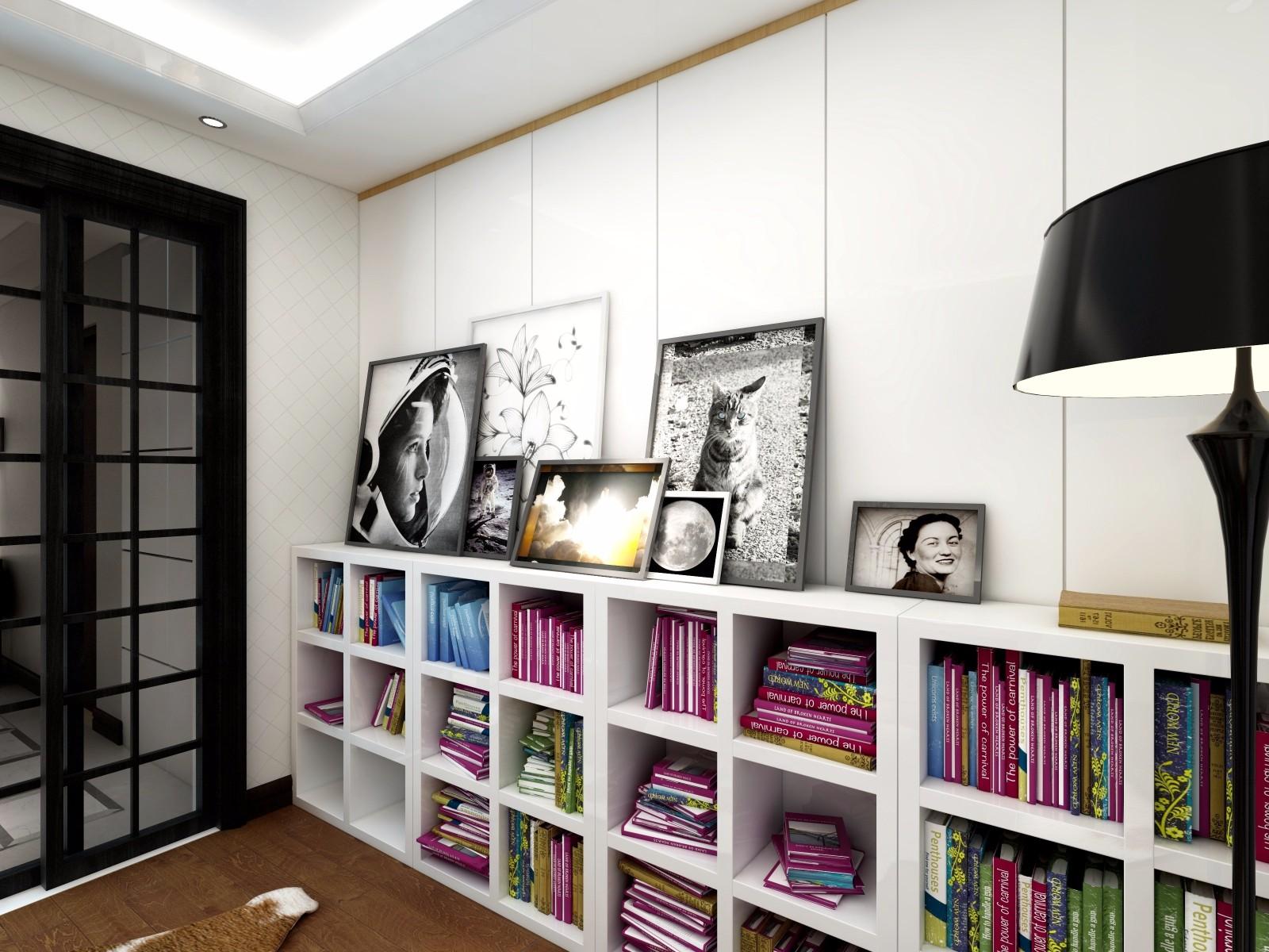 现代风格三居格子书柜装修效果图