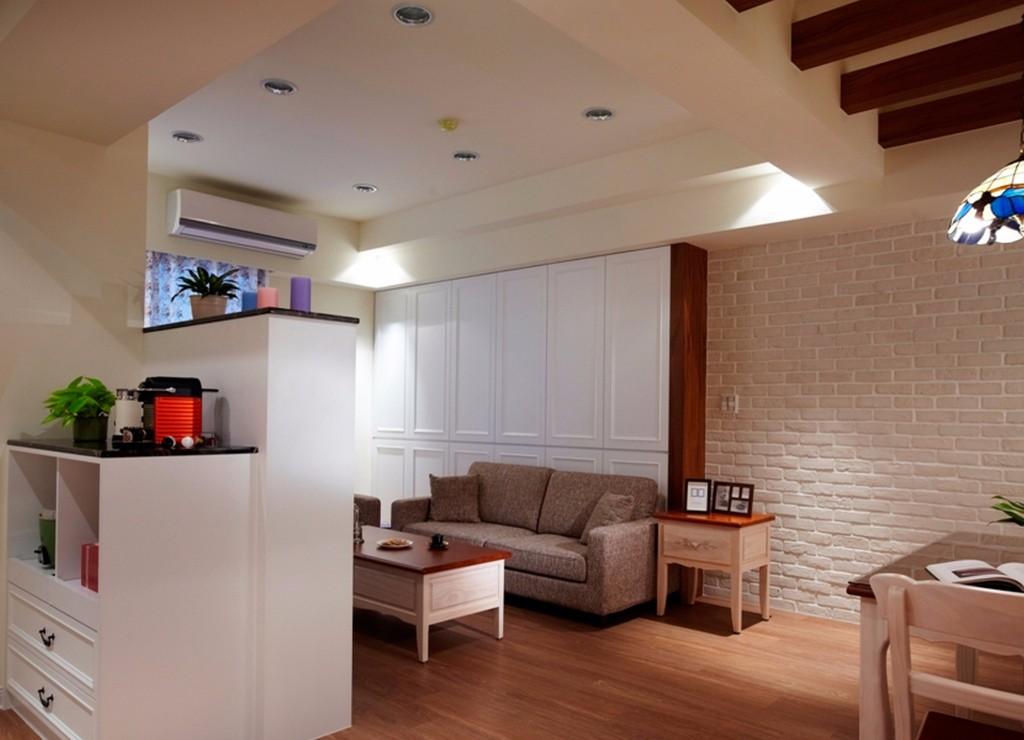 100平美式田园风格客厅装修效果图