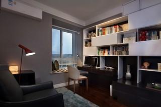 灰色调现代简约三居书房装修效果图