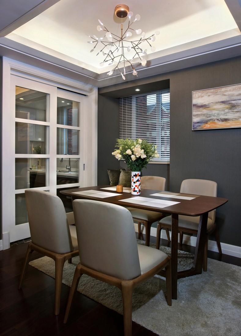 灰色调现代简约三居餐厅装修效果图